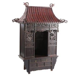 Large Chinese Meditation Shrine on Cabinet, 19th Century