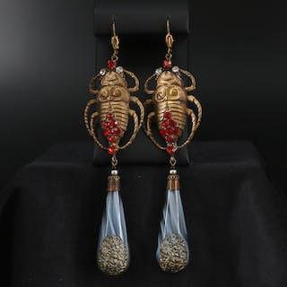 Art Nouveau Style Czech Glass Shoulder Duster Earrings