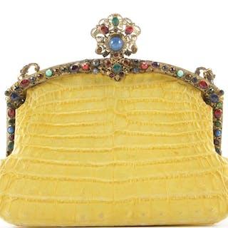 Jacomo Paris Embellished Yellow Crocodile Skin Evening Bag, Vintage