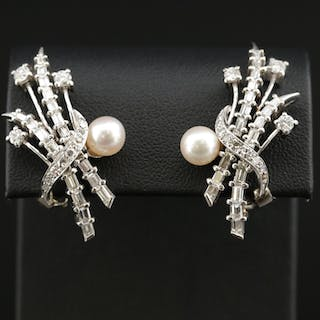 Vintage Platinum Pearl and 2.30 CTW Diamond Earrings with 14K Accents
