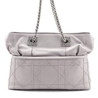 Christian Dior So Dior Cannage Quilt Tote Bag in Taupe Gray Lambskin Leather