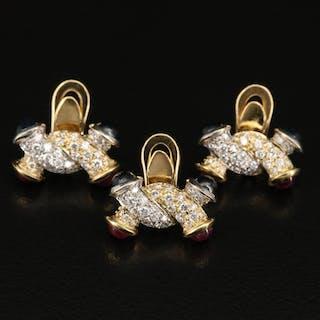 18K Two-Tone Gold Sapphire, Ruby and 1.24 CTW Diamond Tuxedo Studs