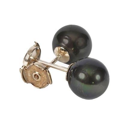 Puces d'oreilles en perles rondes noires de Tahiti