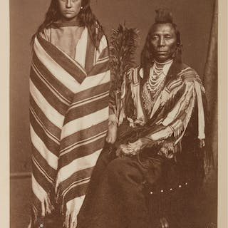 W.H. Jackson Albumen Photograph of Old Crow and Wife