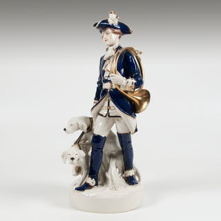 Royal Dux, Royal Dux Hunter and Dogs Porcelain Figural Group