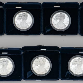 American Eagle One Ounce Proof Silver Bullion Coins, Lot of Eleven