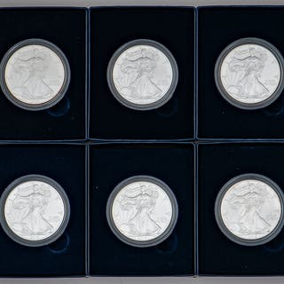 American Eagle One Ounce Silver Uncirculated Coins, Lot of Six
