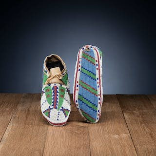 Sioux Fully Beaded Hide Moccasins, Collected by Joseph Scheuerle (American