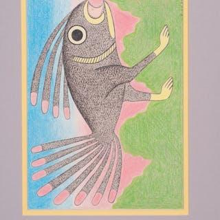 Kenojuak Ashevak (Inuit, 1927-2013) Colored Pencil and Ink on Paper