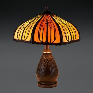 Arts and Crafts Tree Slag Glass Lamp