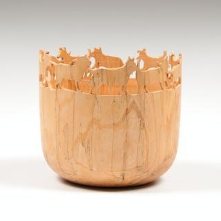 Tom Rauschke (American, 20th Century) Wooden Sculpture