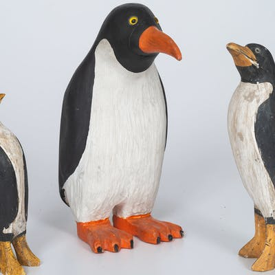 Folk Art Penguins, Including One by Sherman Hensel