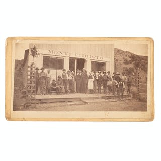 """Mining Camp Photograph Featuring Men Standing in Front of """"Monte Christo"""""""