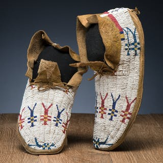Cheyenne Beaded Hide Moccasins, From the Collection of L.A. Huffman