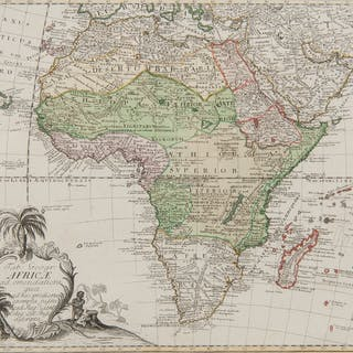 Leonhard Euler (Swiss, 1707-1783) Engraved Map of Africa with Colors