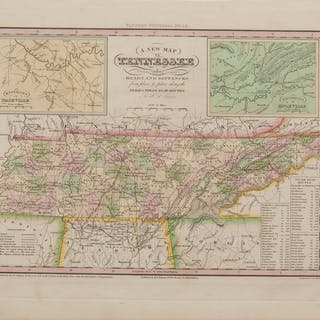 Henry S. Tanner Engraved Map of Tennessee with Colors