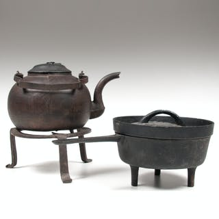 Cast Iron Kettle, Trivet and Covered Pot