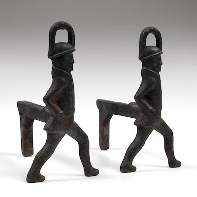Cast Iron Soldier Andirons