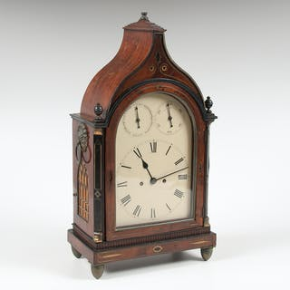 British Gothic Style Shelf Clock with Inlay