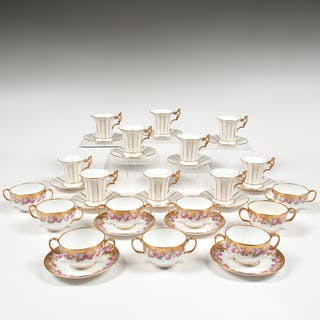 English Gilt China Teacup and Saucer Sets