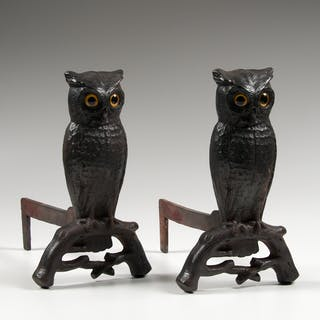 Cast Iron Owl Andirons