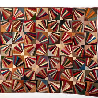 Crazy Quilt with Fan Design