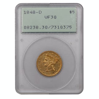 United States $5 Gold Liberty Head 1848-D, PCGS VF30