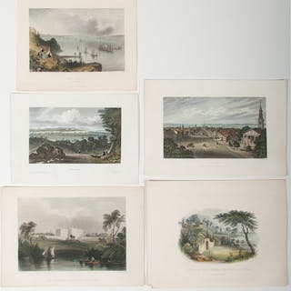 Small Scenic Engravings, Lot of Nine