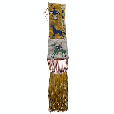 Cheyenne River Sioux Pictorial Beaded Hide Tobacco Bag, From the James