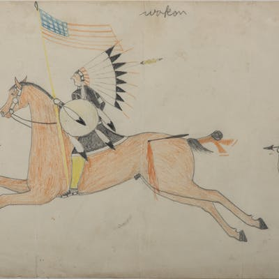 Attributed to Goes-To-War (Brule Lakota, 19th century), Colored Pencil