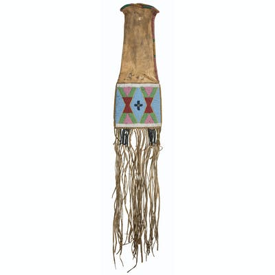 Apsaalooke [Crow] Beaded Hide Tobacco Bag, From the James B. Scoville