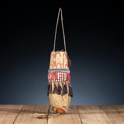 Sioux Beaded and Quilled Hide Bladder Bag, From the James B. Scoville