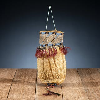 Sioux Beaded Hide Bladder Bag, From the James B. Scoville Collection