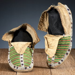 Sioux Beaded Hide Moccasins, From the James B. Scoville Collection