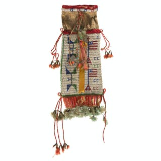 Sioux Beaded Hide Tobacco Bag with American Flags, From the James