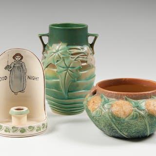Roseville Pottery, Roseville Pottery Vases and Chamberstick