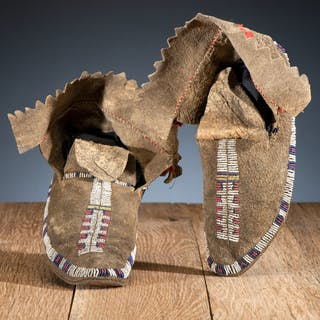 Sioux Beaded Buffalo Hide Moccasins, From the James B. Scoville Collection