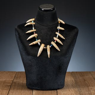 Bear Teeth and Trade Bead Necklace, From the James B. Scoville Collection