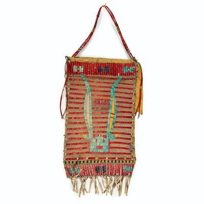 Sioux Quilled Hide Elk Dreamers Bag, From the James B. Scoville Collection