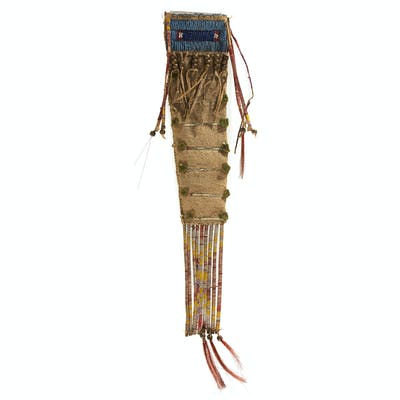 Sioux Beaded and Quilled Buffalo Hide Knife Sheath, From the James