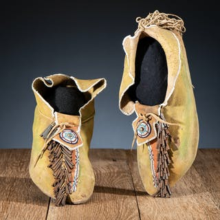 Kiowa Beaded Hide Moccasins, From the James B. Scoville Collection