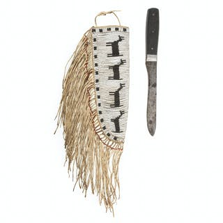 An Early Plains Pictorial Beaded Knife Sheath with Knife, From the