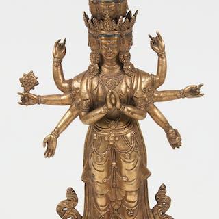 Tibetan Gilt Bronze Bodhisattva 銅鎏金六臂度母立像