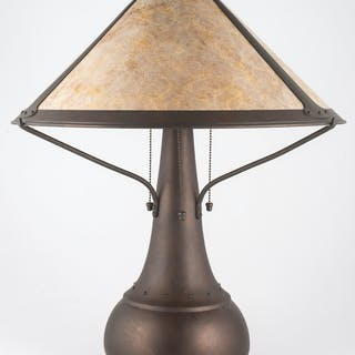 Mica Lamp Co. Mica Lamp Co. Copper Lamps with Almond Mica Shades