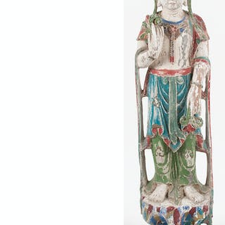 Chinese Carved Wood Guanyin Figure
