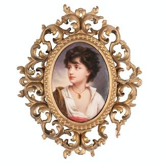 Porcelain Plaque of a Neapolitan Boy, After Richter