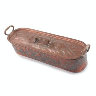 French Copper Fish Poacher with Relief Decorations