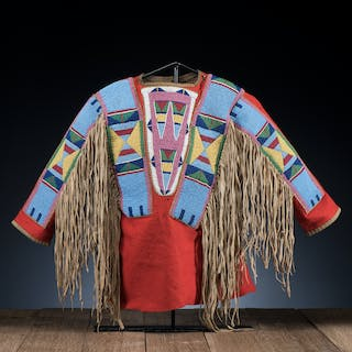 Apsaalooke (Crow) Child's Beaded Wool Shirt, From the Stanley B. Slocum