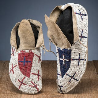 Northern Plains Beaded Hide Moccasins, From the Stanley B. Slocum