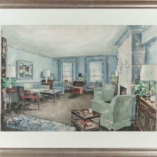 Watercolor of an Interior Scene, Signed Bruce